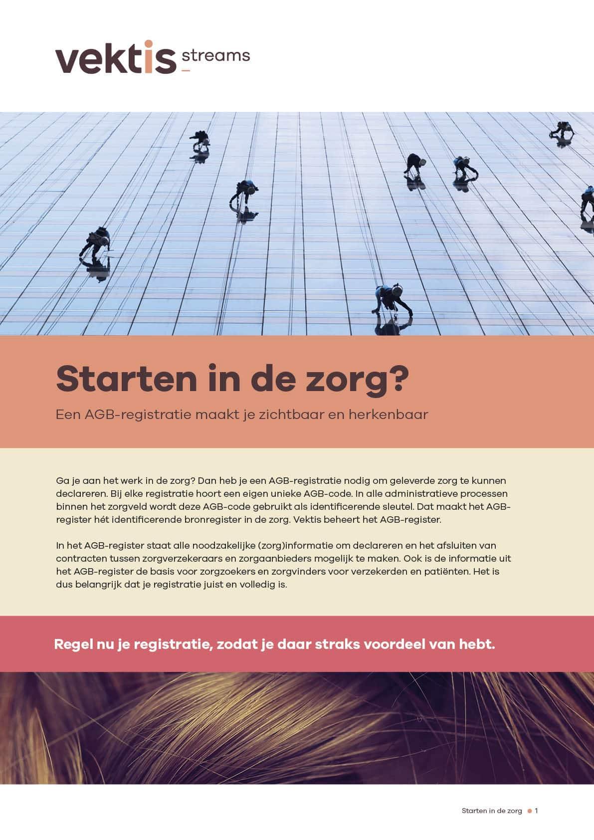 Ontwerp brochure starten in de zorg Vektis door snhontwerp - omslag