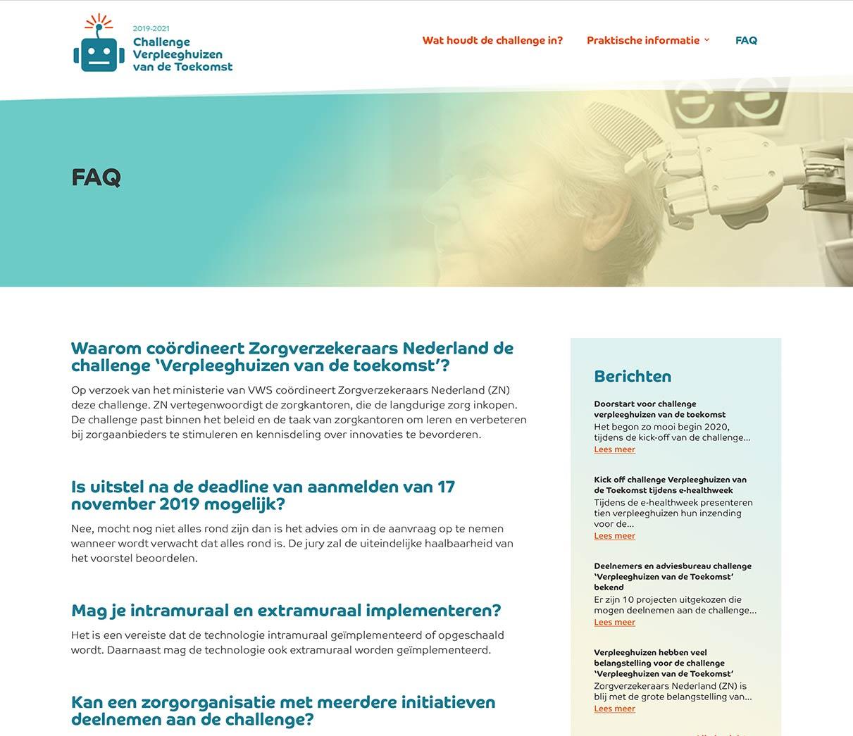 Webdesign Pagina faq verpleeghuis van de toekomst van studio SNH