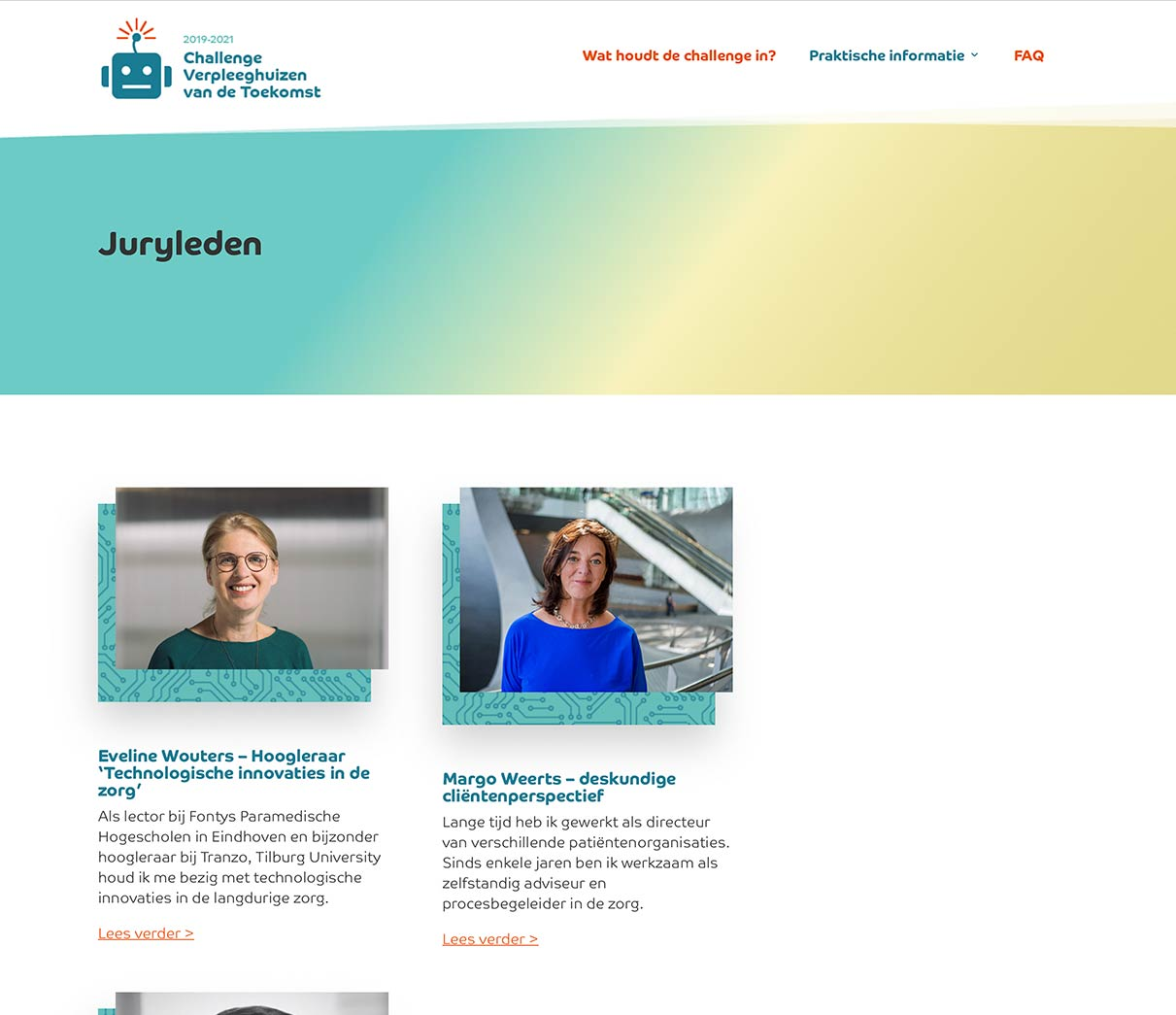 Webdesign Pagina jury verpleeghuis van de toekomst van studio SNH