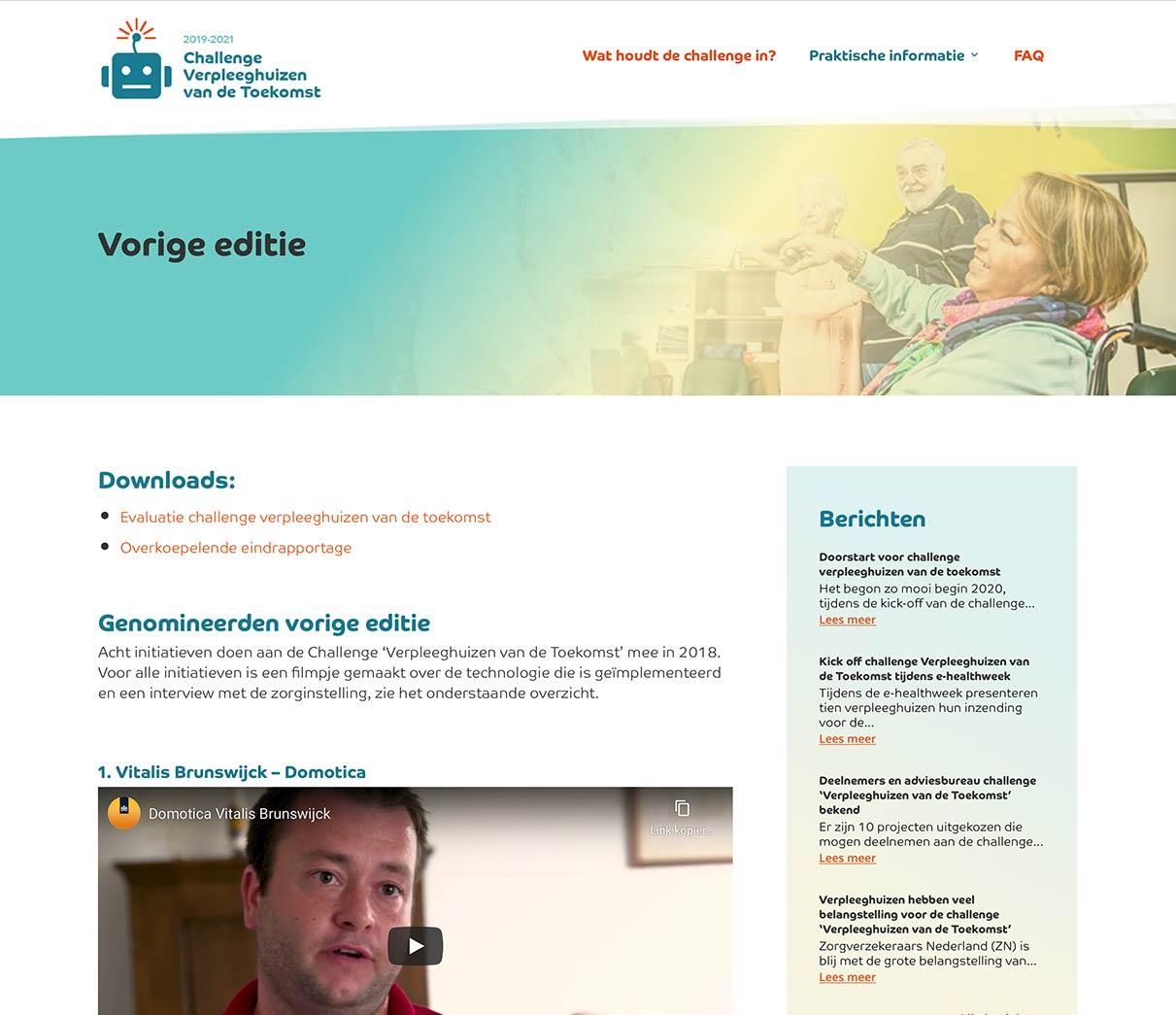 Webdesign Pagina vorige editie verpleeghuis van de toekomst van studio SNH